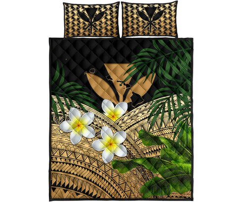 Kanaka Maoli (Hawaiian) Quilt Bed Set, Polynesian Plumeria Banana Leaves Gold | Love The World