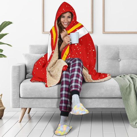 Tuvalu Coat Of Arms Hooded Blanket - Red - Christmas Style - J092