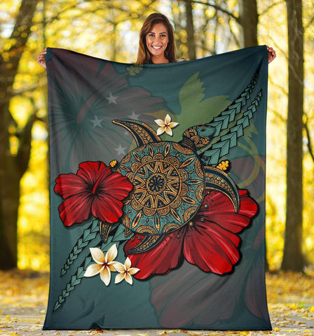 Image of Papua New Guinea Premium Blanket - Blue Turtle Tribal A24