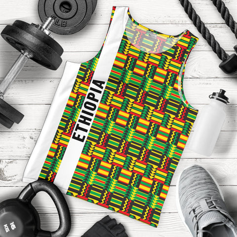 Image of 1stTheWorld Ethiopia Men Tank Top, Ethiopia Stripe African Pattern A10