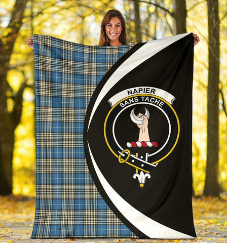 Image of Napier Ancient Tartan Clan Crest Premium Blanket Circle Hj4