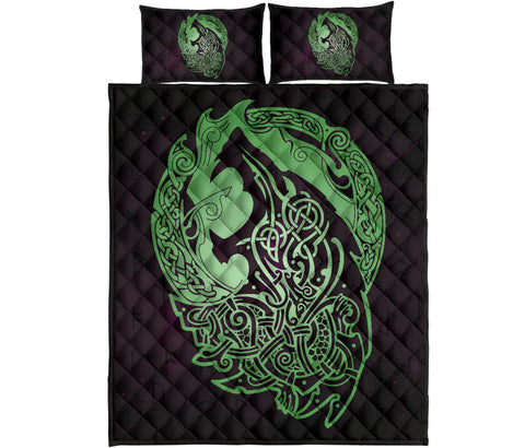 Norse Viking Quilt Bed Set - Viking Wolf Celtic Galaxy Quilt Bed Set Green J1