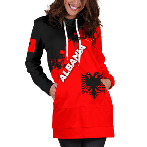 Image of Albania Women Hoodie Dress Red Braved Version K12
