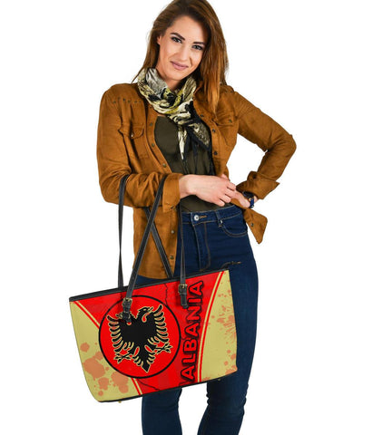 Image of Albania Large Leather Tote Circle Stripes Flag Version K13