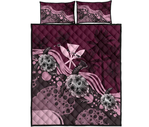 Hawaii Quilt Bed Set - Pink Turtle Hibiscus | Love The World