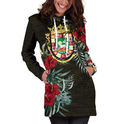Image of Puerto Rico Hibiscus Hoodie Dress A7