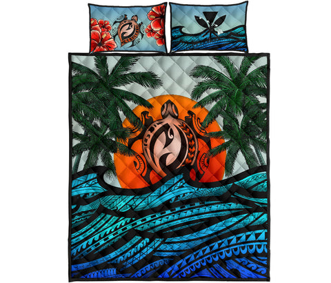 Kanaka Maoli (Hawaiian) Quilt Bed Set - Polynesian Waves Turtle Coconut Tree And Hibiscus | Love The World