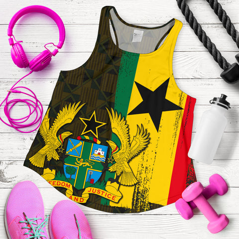 Ghana Coat Of Arm Kente Women's Racerback Tank - J4