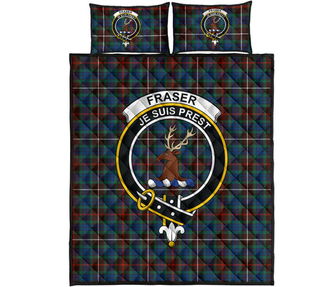 Fraser Hunting Ancient Tartan Quilt Bed Set Clan Badge K7