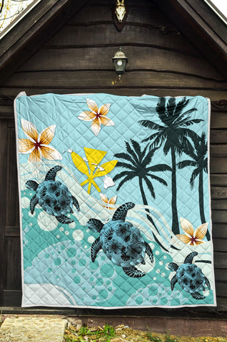 Image of Hawaii Premium Quilt - Blue Turtle Hibiscus A24