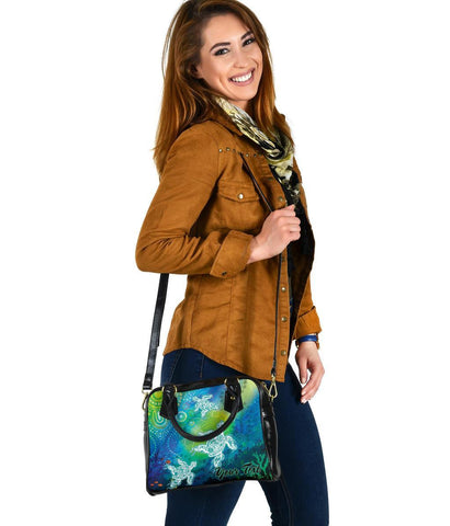 [Custom Text] Australia Aboriginal Shoulder Handbag -  Indigenous Turtle Ocean Dot Painting Art