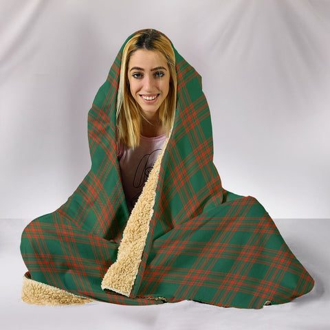 Image of Menzies Green Ancient, hooded blanket, tartan hooded blanket, Scots Tartan, Merry Christmas, cyber Monday, xmas, snow hooded blanket, Scotland tartan, woven blanket