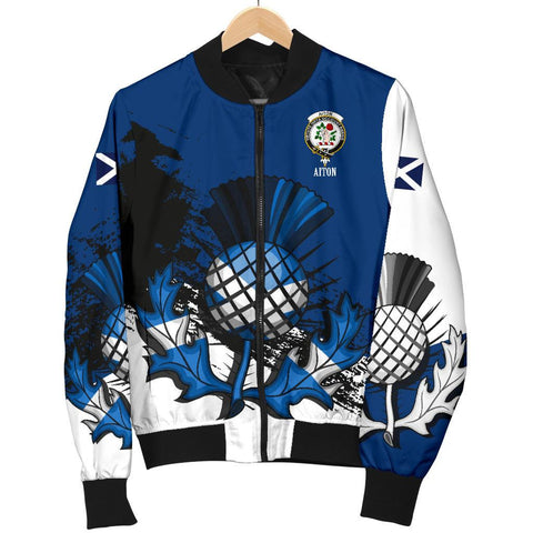 Aiton Crest Scottish Thistle Scotland Women's Bomber Jacket | Over 300 Clans | Clothing | Apparel