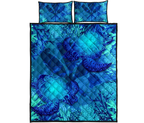 Image of Polynesian Hawaii Turtle Quilt Bed Set - Kanaka Maoli Flag