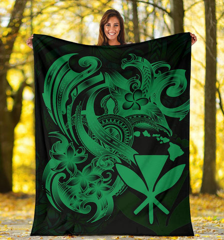 Polynesian Hawaii All Over Premium Blanket - Kanaka Maoli Green Turtle - BN12