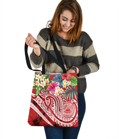 Image of Polynesian American Samoa Tote Bags - Summer Plumeria (Red)