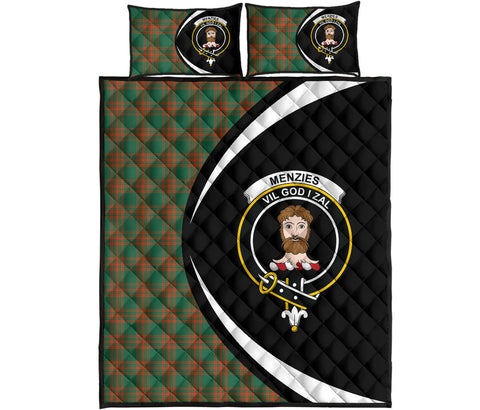 Image of Menzies Green Ancient Tartan Quilt Bed Set Circle HJ4