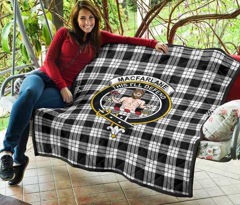 MacFarlane Black & White Tartan Clan Badge Premium Quilt | 1sttheworld.com