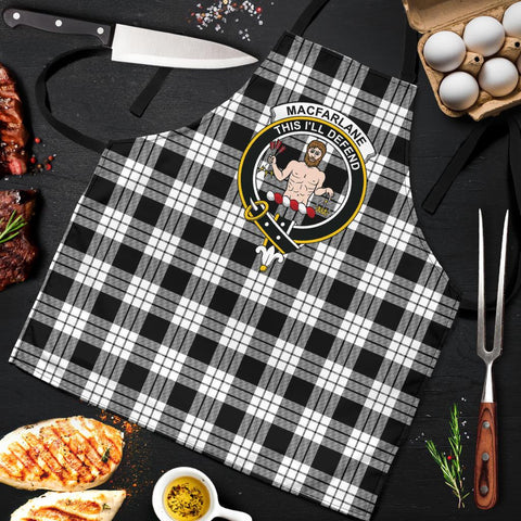 MacFarlane Black & White Ancient Tartan Clan Crest Apron HJ4