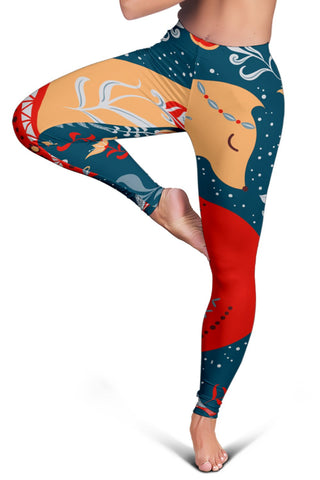 Scandinavian style Women's Leggings - Red Fox Folk Art - BN21