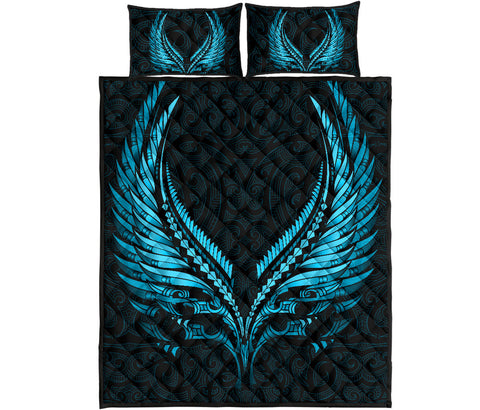 Image of New Zealand Quilt Bed Set Aotearoa - Maori Fern Tattoo Bleu Clair A7