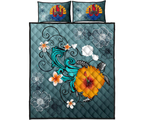 Tahiti Quilt Bed Set - Map Turtle Hibiscus | Love The World