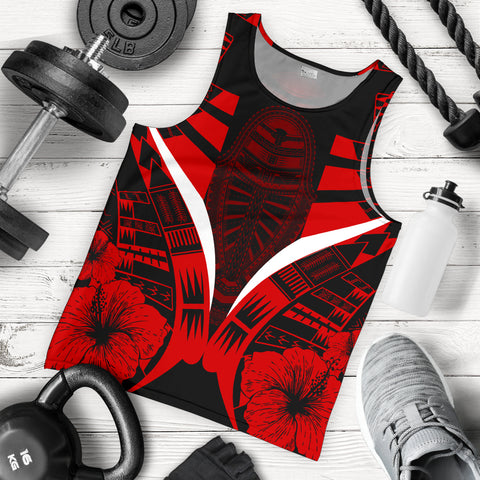Image of Polynesian Tattoo Men Tank Top Hibiscus Red 5