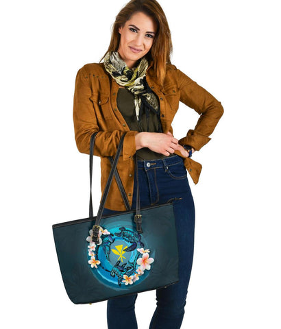 Kanaka Maoli (Hawaiian) Leather Tote  - Blue Plumeria Animal Tattoo A24
