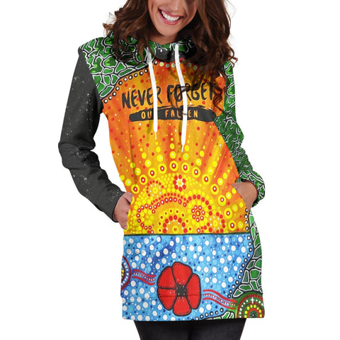 Aboriginal Australian Anzac Day Hoodie Dress - Lest We Forget Poppy 5