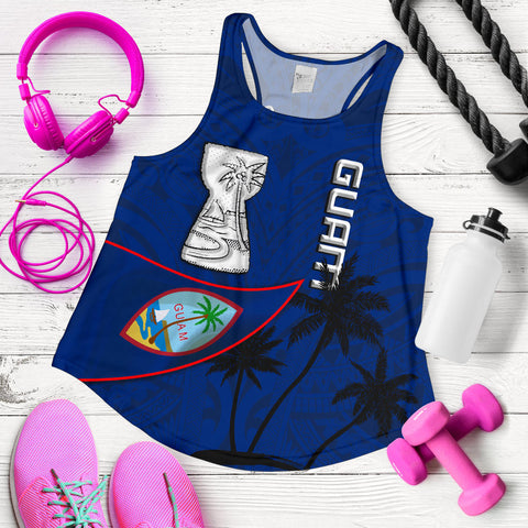 Image of Guam Latte Stone Women Racerback Tank Flag Over Ocean K4