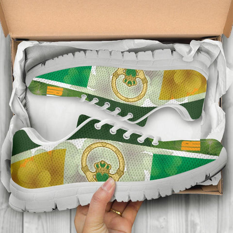 Image of Celtic Ireland Sneakers - Ireland Flag With Claddagh Ring and Shamrock - BN21