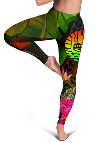 Image of Tahiti Polynesian Women's Leggings -  Hibiscus and Banana Leaves