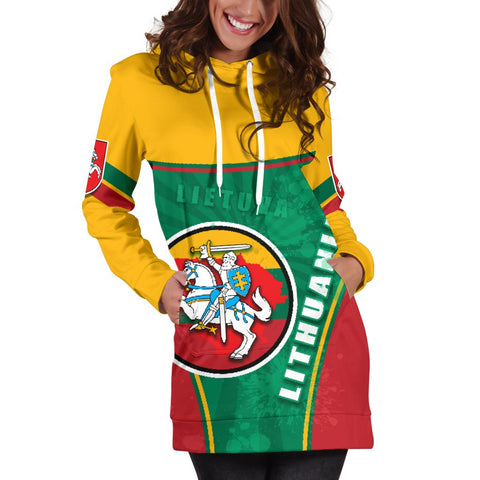 Lithuania - Lietuva Women Hoodie Dress Circle Stripes Flag Proud Version K13