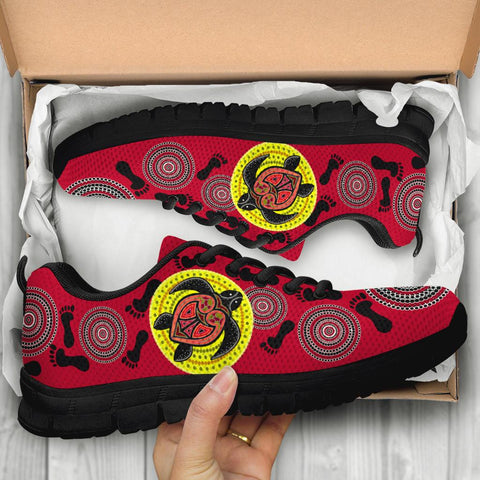 Australia Aboriginal Sneakers, Turtle Footprint Circle Dot Painting Ver 06