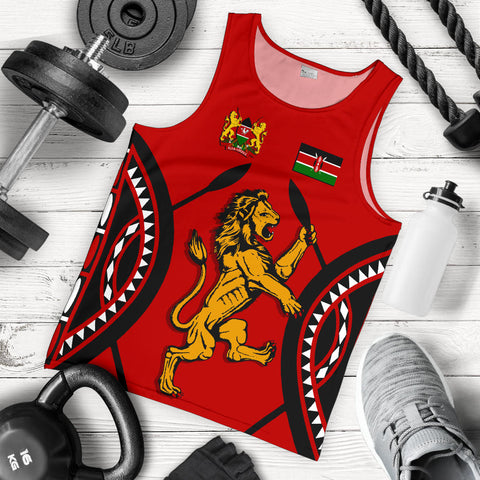 Image of Kenya Lion Men Tank Top Maasai Shield | Clothing | Love Kenya