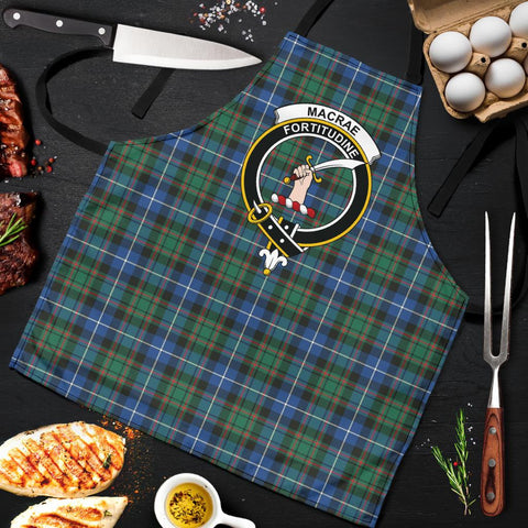 Image of MacRae Hunting Ancient Tartan Clan Crest Apron HJ4