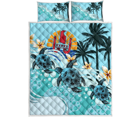 Tahiti Quilt Bed Set - Blue Turtle Hibiscus A24