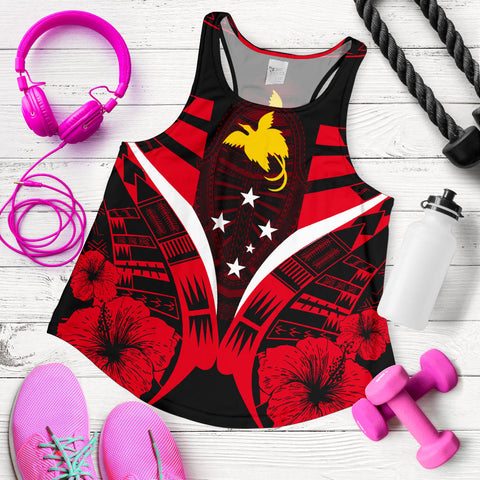 Papua New Guinea Tattoo Women Racerback Tank Hibiscus - Red Color 5