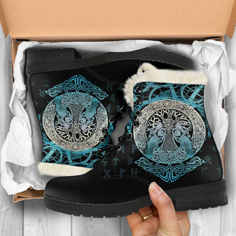 Image of Viking Faux Fur Leather Boots Yggdrasil and Ravens A7