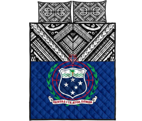 Samoa Quilt Bed Set - Polynesian Blue Version