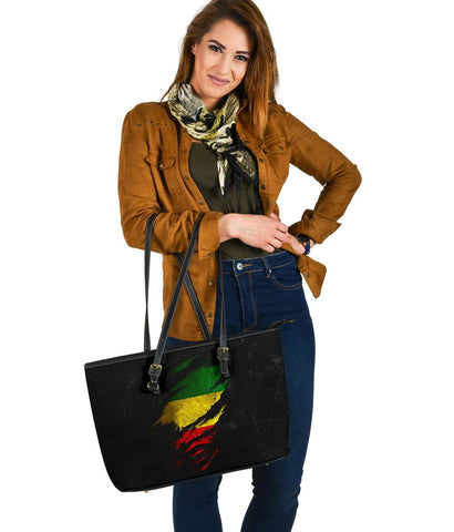 Ethiopia in Me Large Leather Tote - Special Grunge Style A7