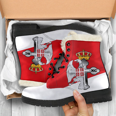 Image of Serbia Faux Fur Leather Boots - Serbian Eagle / Orthodox Cross A7