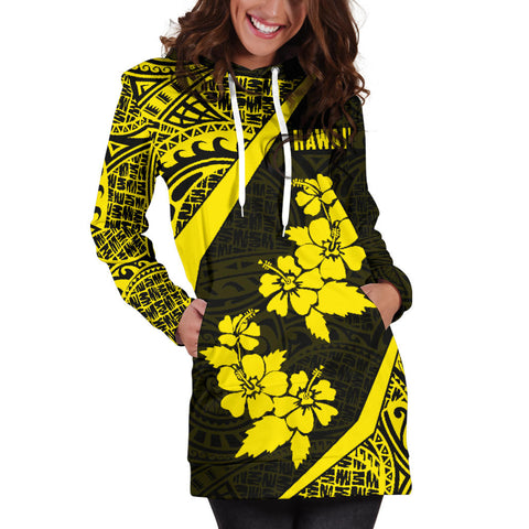 Hawaii Polynesian Women's Hoodie Dress Hibiscus Yellow TH5 |Women's Clothing| 1sttheworld