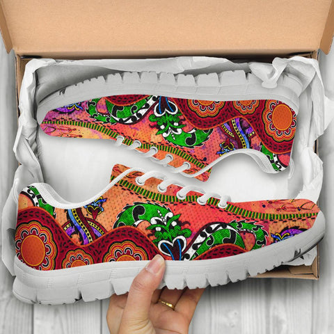Australia Aboriginal Sneakers - Aussie Indigenous Patterns Orange