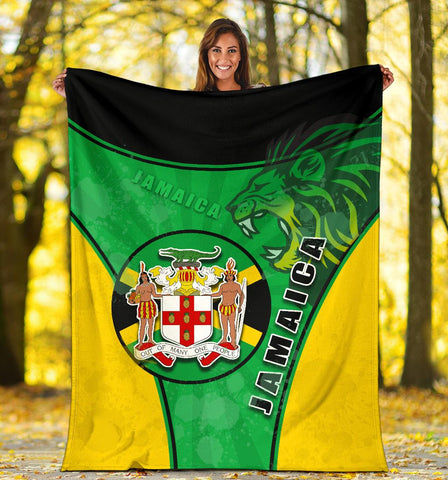 Jamaica Lion Premium Blanket Circle Stripes Flag Version K13