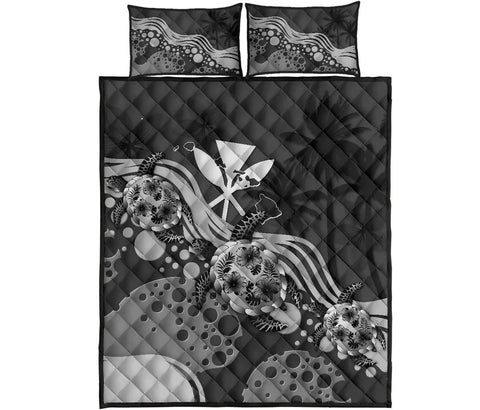 Hawaii Quilt Bed Set - Gray Turtle Hibiscus | Love The World