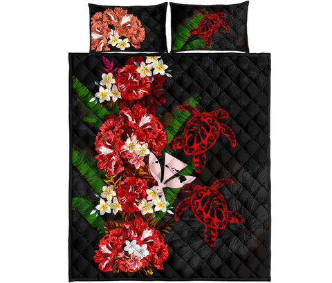 Kanaka Maoli (Hawaiian) Quilt Bed Set - Polynesian Hibiscus Turtle Palm Leaves Red I Love The World