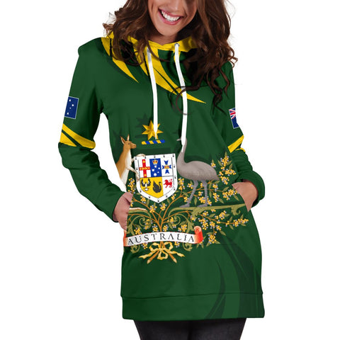 Image of 1stTheWorld Australia Women's Hoodie Dress, Australia Coat Of Arms Green A10