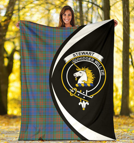 Stewart of Appin Hunting Ancient Tartan Clan Crest Premium Blanket Circle Hj4