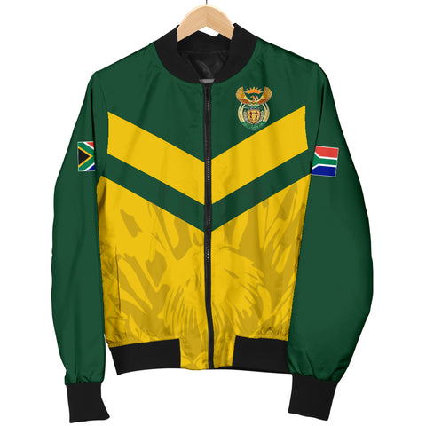 1stTheWorld South Africa Bomber Jacket - South African Rising King Protea Men Yellow A10